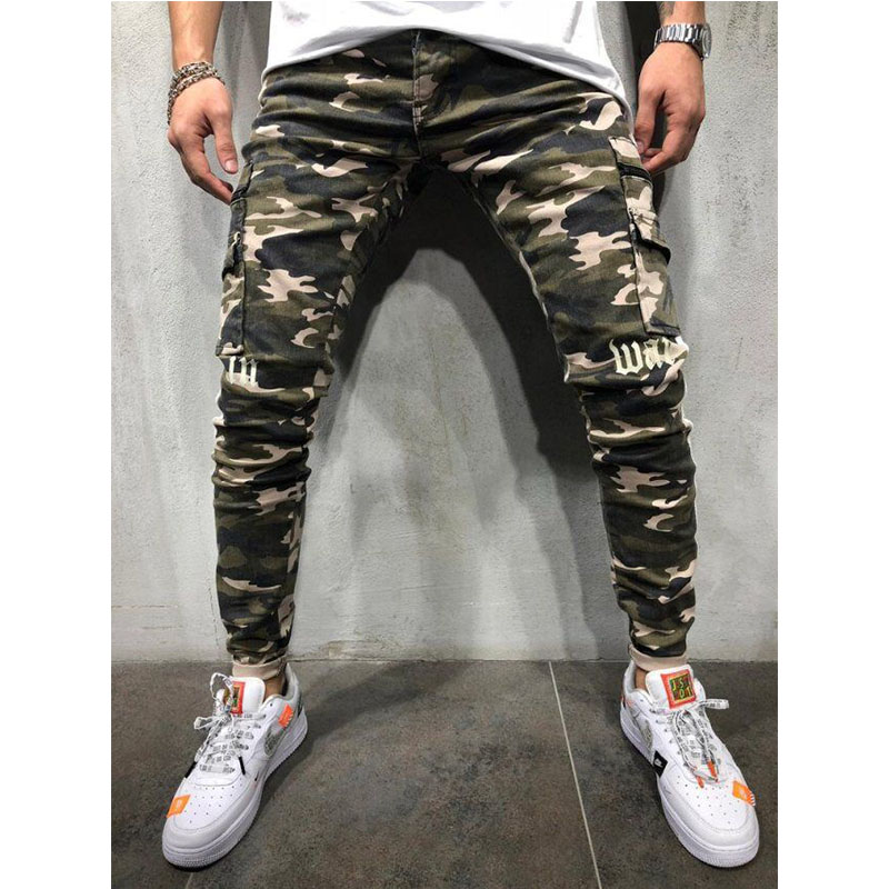 CYXZFTROFL New Men's Camouflage Slim Jeans High Quality Trend Men's Jeans Stretch Hollow Tight Riding Pleated Printed Jeans