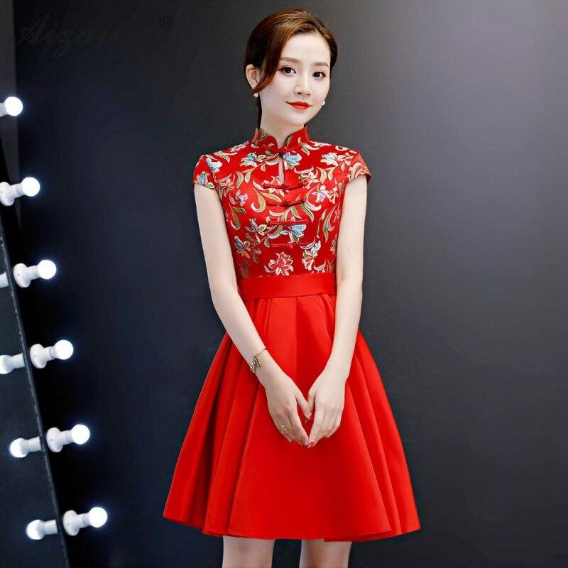 Красное Мини атласное платье Чонсам современные китайские вечерние платья Qi Pao Женская традиционная китайская одежда модные короткие Qipao