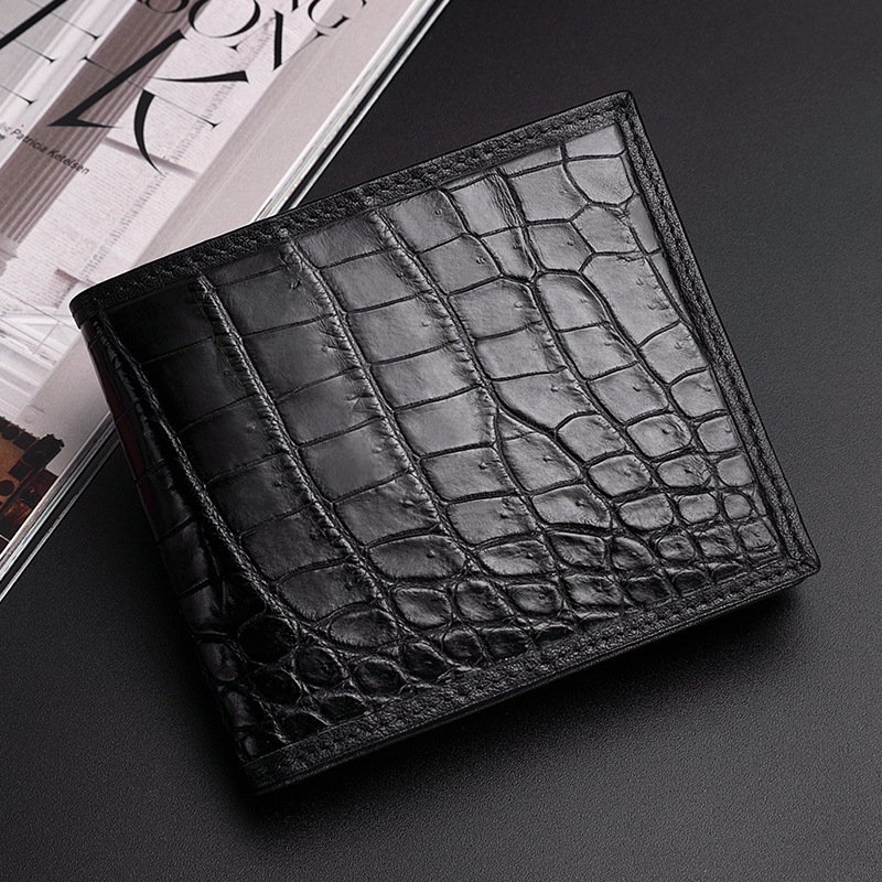 Authentic Exotic Crocodile Belly Skin Men's Short Wallet Small Card Purse Genuine Real Alligator Leather Male Bifold Wallet