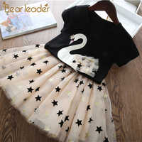 Urso líder 2020 novo verão crianças meninas roupas definir fruta parrten curto camiseta + arco vestido de baile 2 peças conjuntos de roupas 3-7y