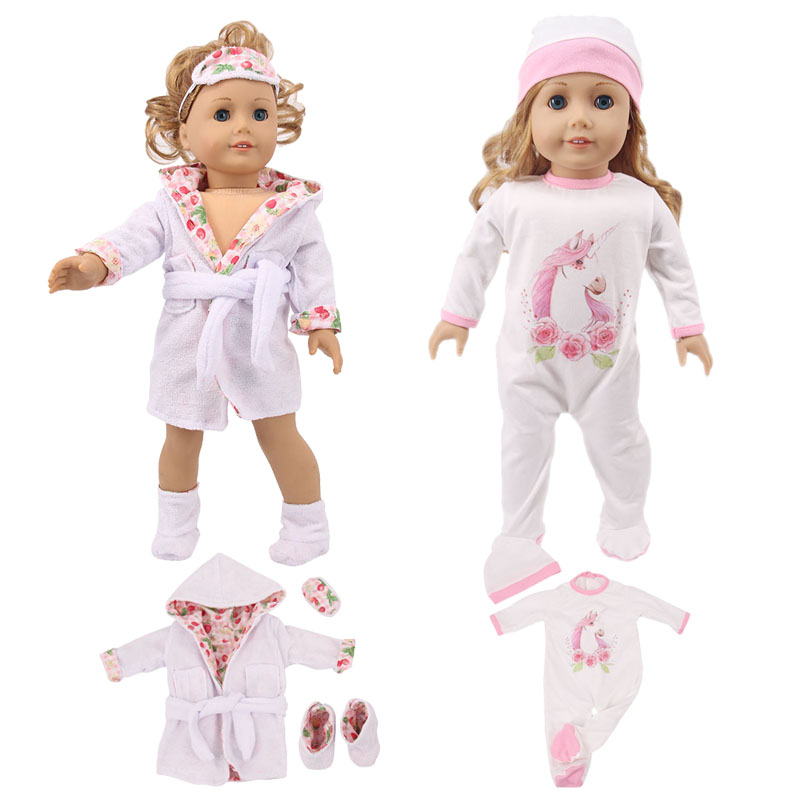 Doll Unicorn Cute Pajamas,Sleeping Bag Fit 18 Inch American&43 Cm Born Baby Doll Clothes Accessories Generation Girl's Toy Gift