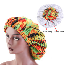 Новые очень большие атласные выстроились Bonnets для женщин Африканский узор печати ткань Анкара bonnets ночной сон шляпа женский тюрбан
