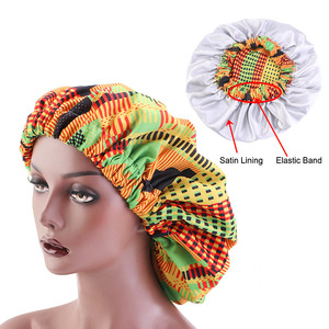 Image 2 - Nowa bardzo duża satynowa podszewka maski kobiety afrykański wzór nadruk na tkaninie Ankara Bonnets nocny czepek do spania panie Turban