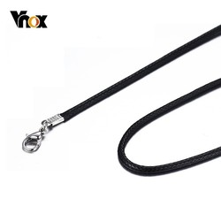 Vnox Classic Black Leather Rope Chain for Men Women Basic Link Chain Casual Unisex Jewelry Accessory