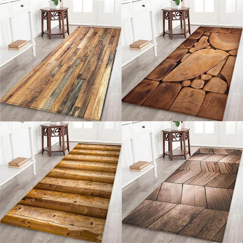 Geometric Wood Grain Kitchen Mat Floor