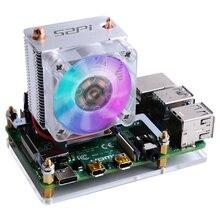 Dissipateur thermique Raspberry Pi 4B / 3B / 3B + 52Pi, ventilateur de refroidissement, 40x40x10, V2.0, Super Dissipation de chaleur, 7 couleurs de lumière