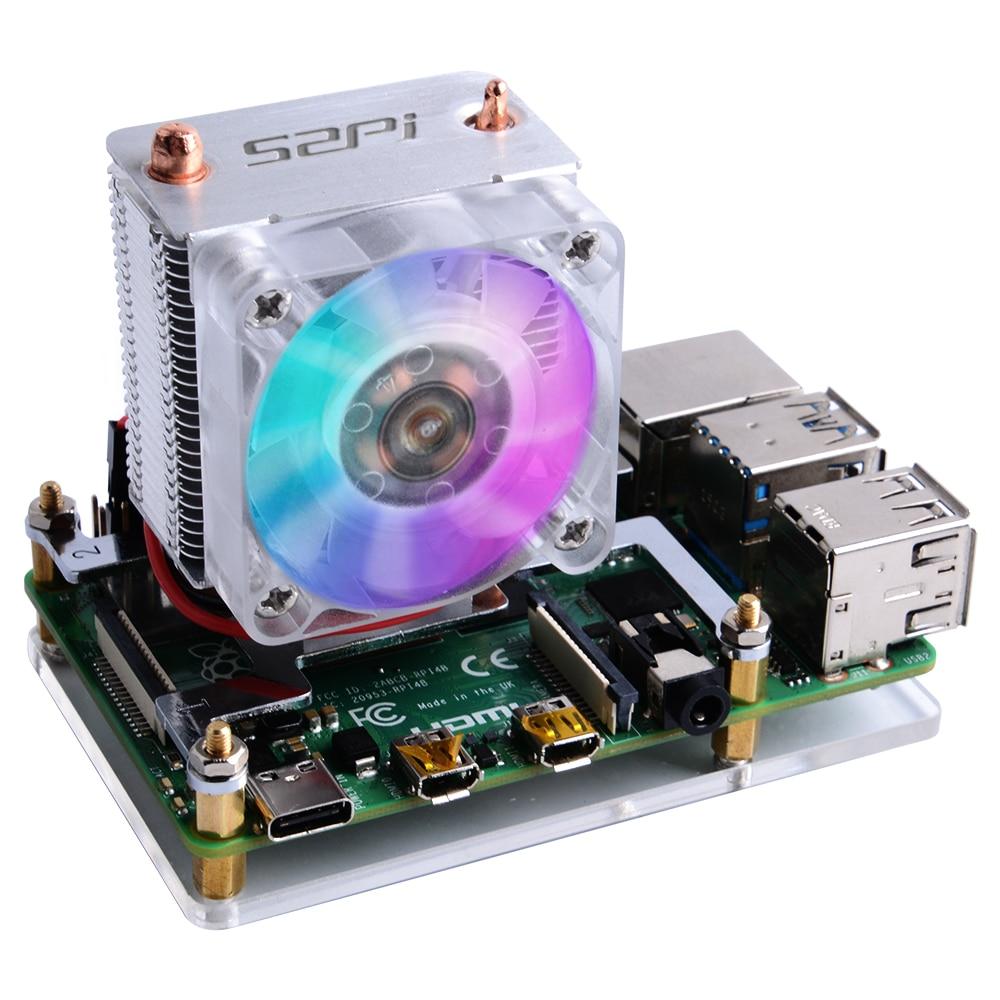 Raspberry Pi 4B/3B/3B + Dissipatori di Calore 52Pi Ghiaccio-Torre Ventola di Raffreddamento 40X40X10 V2.0 Nero Super Dissipazione di Calore 7 Colori Luce