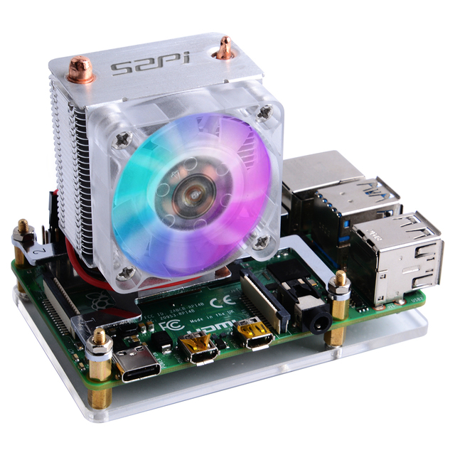 Raspberry Pi 4B / 3B / 3B+ Heat Sinks 52Pi ICE Tower Cooling Fan 40x40x10 V2.0 Black Super Heat Dissipation 7 Colours Light