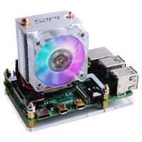 Raspberry Pi 4B/3B/3B + disipadores de calor 52Pi ventilador de refrigeración de torre de hielo 40x40x10 V2.0 negro Super disipación de calor 7 colores de luz