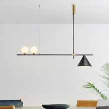 Modern nordic suspension light 3 lights geometric line long pendant lamp for dining room bar restaurant deco lighting fixture