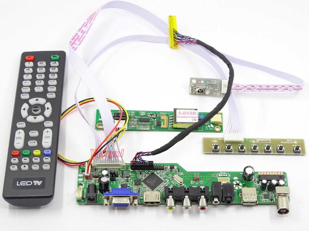 Yqwsyxl Control Board+ DC 12V 3A Power Adapter Kit For LP154WX5 TV+HDMI+VGA+AV+USB LCD LED Screen Controller Driver Board