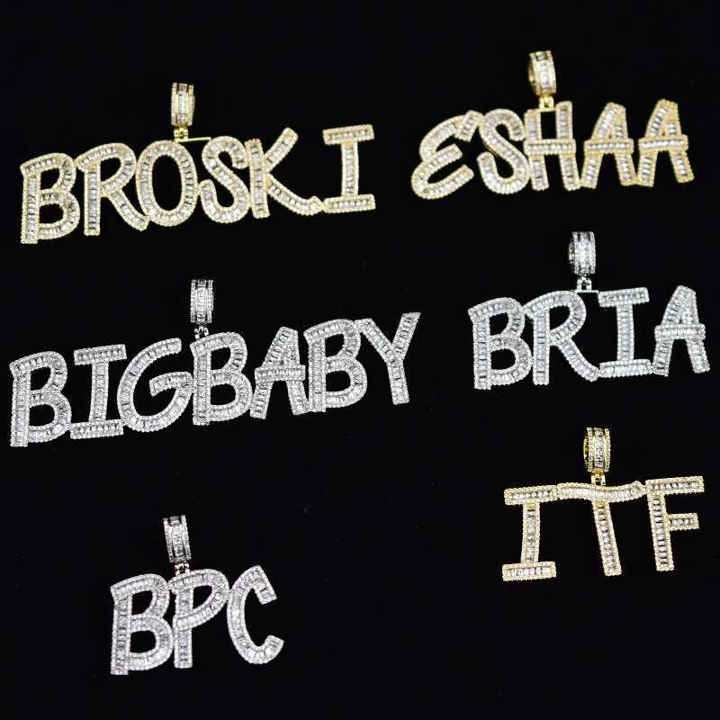 CUSTOM ชื่อ Baguette ตัวอักษร Hip Hop Iced OUT จี้เงินทอง Bling Zirconia ชาย Hip Hop Charm ของขวัญจี้เครื่องประดับ