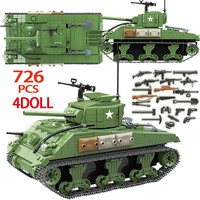 726PCS Military 100081 Sherman M4A1 Tank Building Blocks Legoingly WW2 Tank Technic City Police Soldier Weapon Bricks Kids Toys