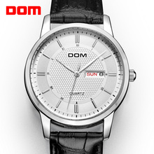 DOM montre à Quartz pour hommes, marque de luxe, étanche, bracelet en cuir pour hommes, collection 2018