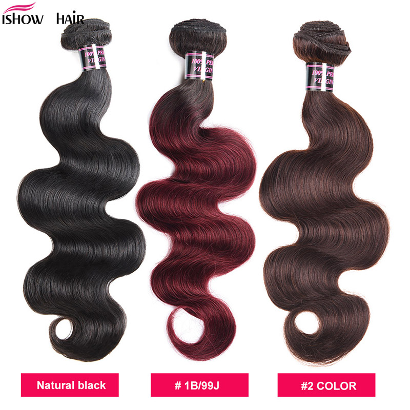 Ishow Malaysian Body Wave Hair Weave Bundles 1B/99J Human Hair Bundles 1/3/4 Piece 99J Non-Remy Hair Extensions Natural Color