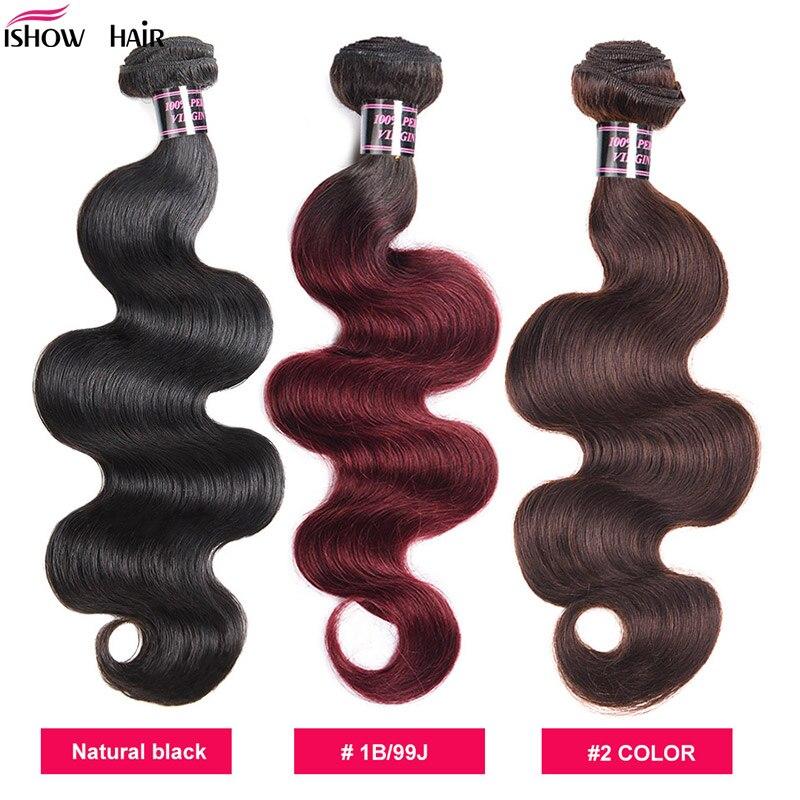 Малазийские волнистые волосы Ishow, волнистые пучки волос 1B/99J, пряди человеческих волос 1/3/4 шт. 99J, волосы для наращивания без повреждений, есте...
