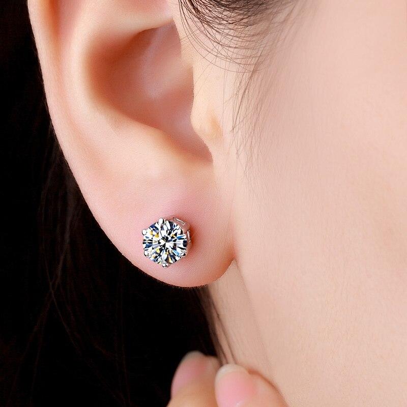 ZHHIRY réel Moissanite 925 boucles d'oreilles en argent Sterling pour les femmes boucle d'oreille goujon Total 2ct D VVS gemme avec certificat bijoux fins - 2