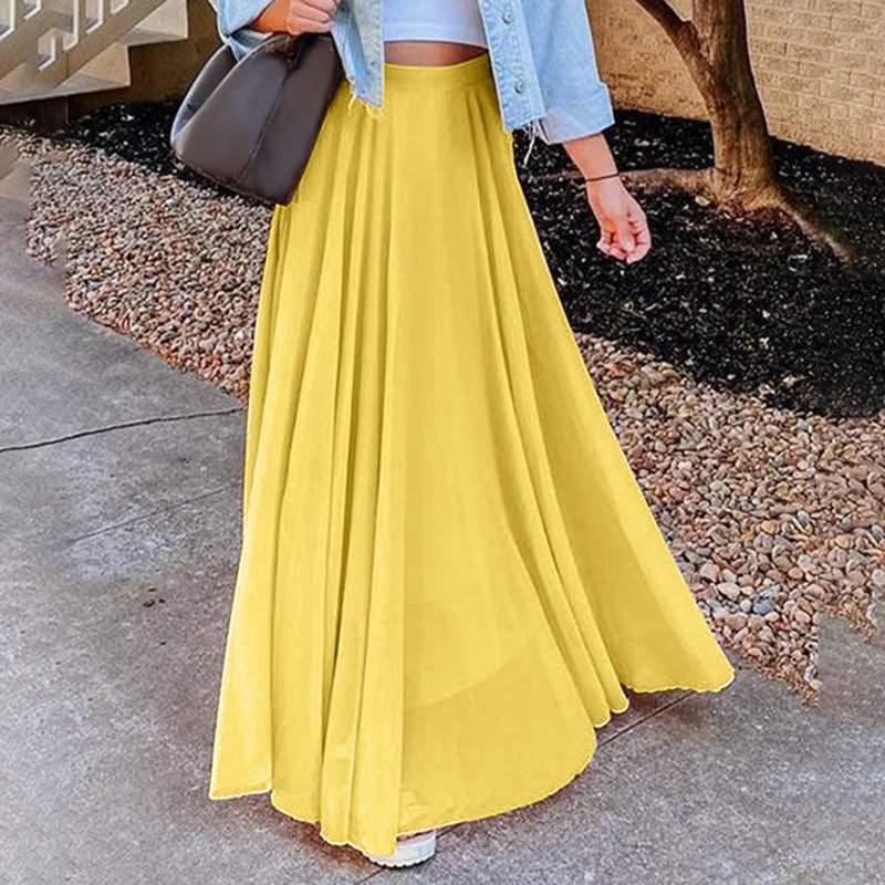 Stylish Solid Skirts Women's Spring Sundress ZANZEA 2021 Casual High Wasit Faldas Saia Female Chiffon Vestidos Oversized Robe