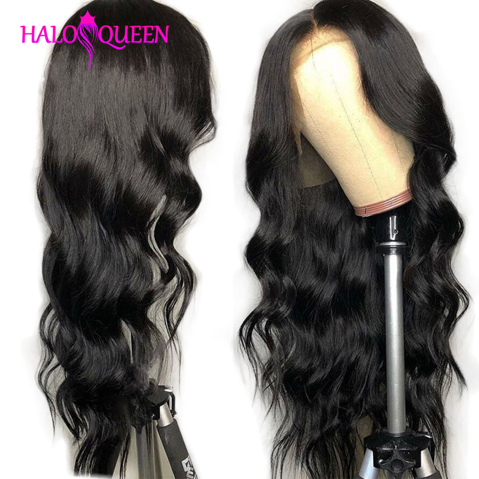 HALOQUEEN Body Wave Lace Front Human Hair Wigs 13X4 Non Remy-Hair Transparent Brazilian Body Wave Lace Front Wig For Black Women