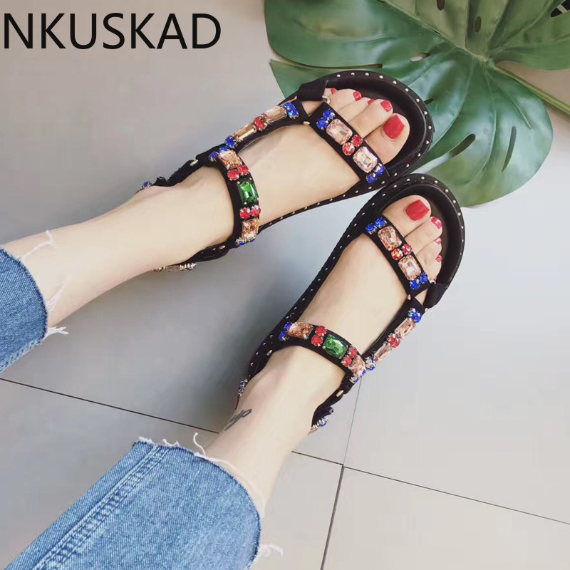Sandals Women 2020 Platform Summer Shoes Black Fashion Rhinestone Sandals Hook & Loop Thick Sole Woman Sandals
