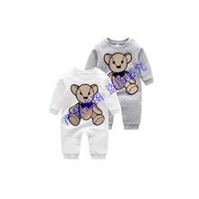 Nova moda inglaterra estilo roupas de bebê recém-nascido xadrez listrado algodão bordado dos desenhos animados urso da criança menino menina macacão 0-24 meses