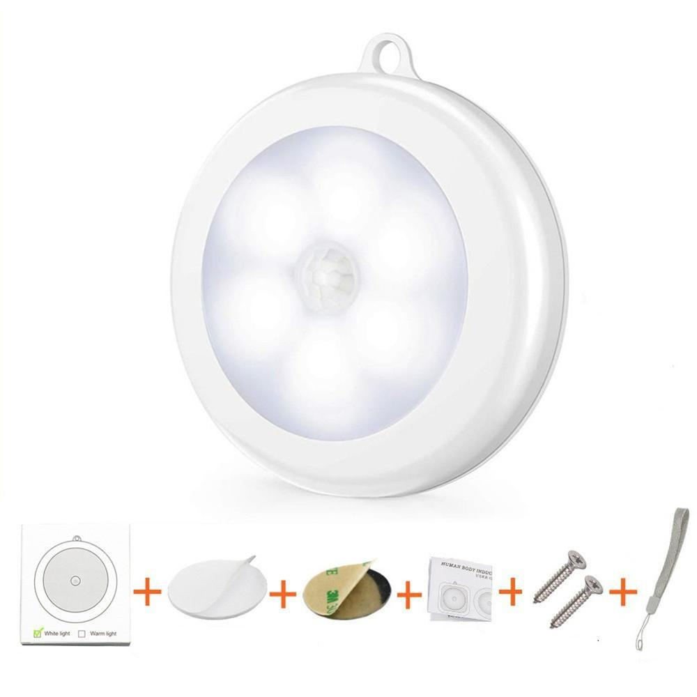 Round Motion Sensor LED Night Light With Hanging Hook Magnetic Wireless Wall Lamp Eye Care Nursing For Cabinet Wardrobe Closet