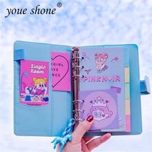 1PCS Leather notebook kawaii DIY brochure handbook set small fresh macaron travel diary FOR pink girl heart 19*13CM