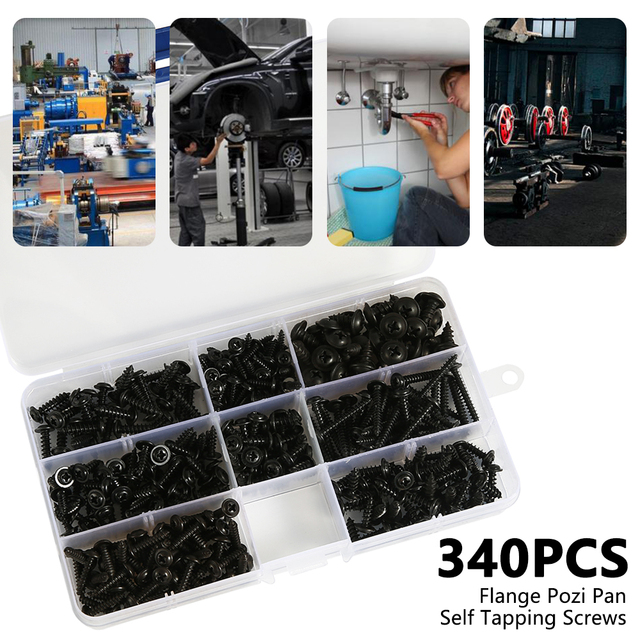 215/340/500pcs Pan Head Tapping Screw Cross Head M3/M4/M4.8 Self Tapping Screw Set Assortment Kit Black Furniture Carbon Steel 2