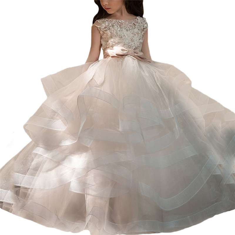 New Flower Girl Dresses Blush Pink First Communion Gowns For Girls Ball Gown Cloud Beaded Pageant