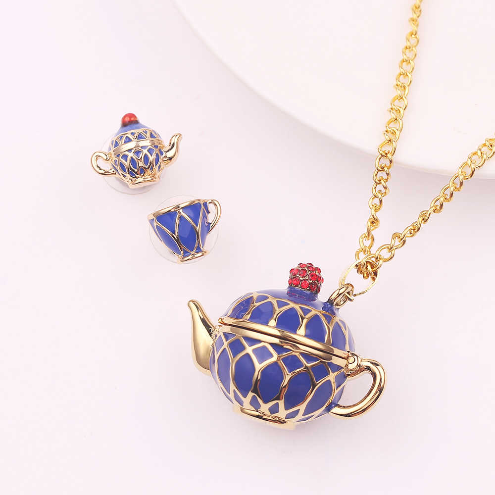 Hand Painted Teapot Pendant Long Chain Necklace Enamel Fashion Choker Jewelry Bijoux Femme Bijuteria Accessories Gifts For Women