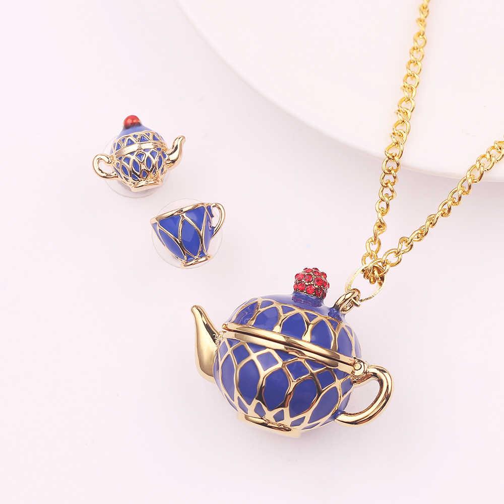 Hand Painted Teapot Pendant Long Chain Necklace Enamel Fashion Choker Jewelry Bijoux Femme Bijuteria Accessories Gifts For Women