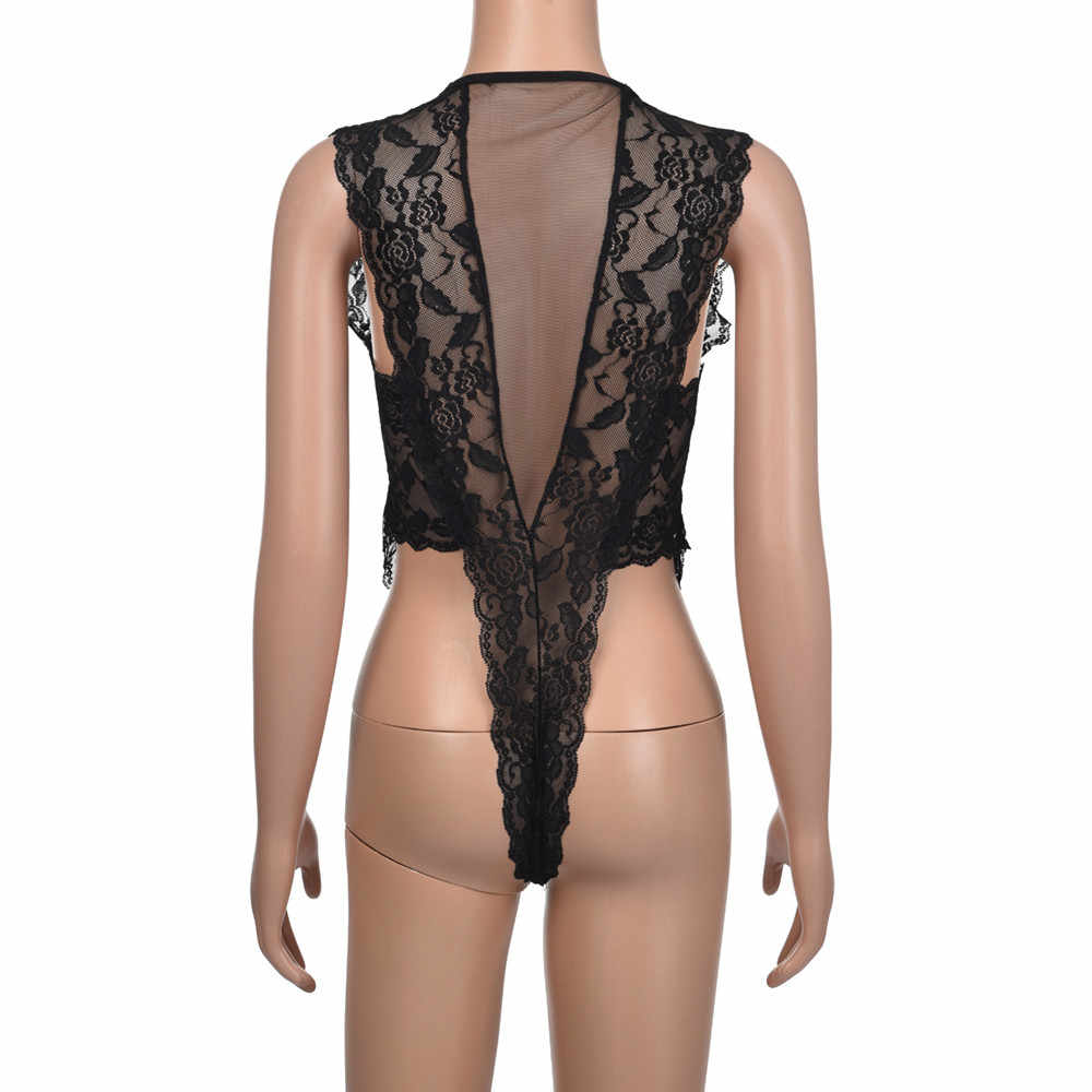 Miarhb Erotische Lingerie Visnet Bodysuit Panty Open Kruis Sexy Ondergoed Transparante Bodystocking Zwart Kant Fetish Babydoll