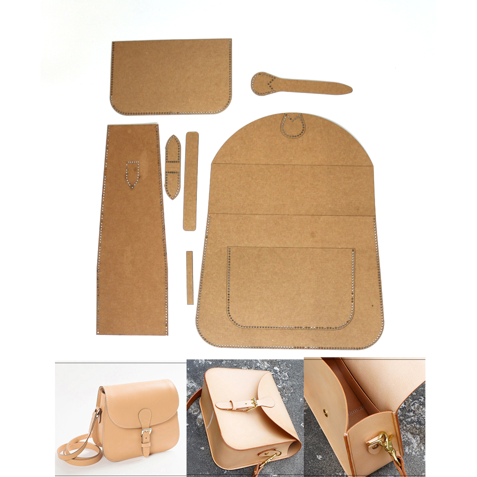 New Kraft Paper Template DIY Leather Sewing Pattern Template For Handbag 7pcs/set Finished Size28x20x10cm