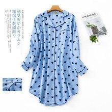 Estampado de otoño camisón de dibujos animados Sexy, ropa de noche mujer Sleepshirts 100% algodón cepillado fresco sencillo mujer pijama vestido de noche