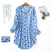 가을 인쇄 만화 Nightdress 섹시한 잠옷 여성 Sleepshirts 100% 닦았 면화 신선한 간단한 여성 잠옷 나이트 드레스