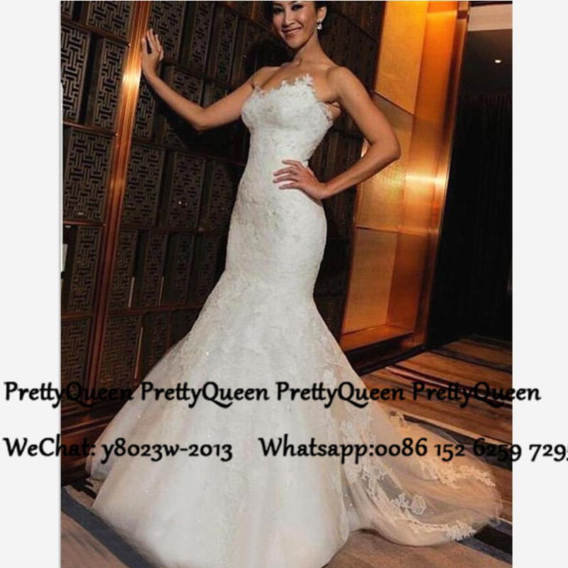 2020 Mermaid White Lace Wedding Dress For Women Sweetheart Neck Long Court Train Bridal Dresses Gown Vestido De Noiva