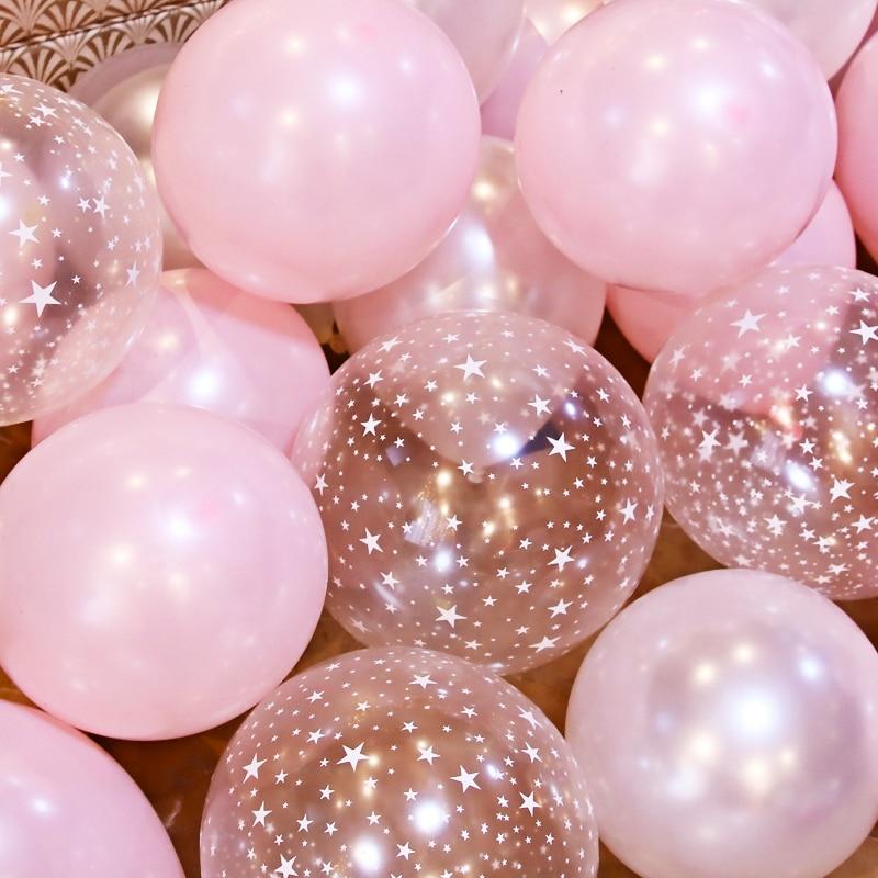 10 шт./лот, 12-дюймовые прозрачные розовые воздушные шары со звездами, набор латексных воздушных шаров, свадебные украшения, детский душ, вечер...