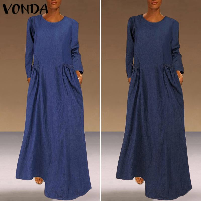 VONDA Autumn Long Sleeve Solid Dress Plus Size Bohemian Party Maxi Dresses Casual O Neck Beach Sundress Femme Robe 5XL Vestidos