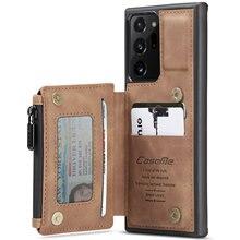 جراب جلدي مع سحاب لهاتف Samsung Galaxy Note 20 Ultra و S20 FE ، جراب خلفي مع حامل بطاقات