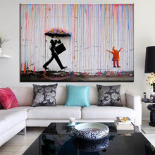 Banksy Graffiti Art Colorful Rain Wall Canvas Painting Home Decor Artwork Posters And Prints Pictures No Frame