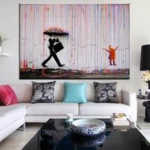 Banksy Graffiti Art Colorful Rain Wall Art Canvas Painting Home Decor Artwork Posters And Prints Wall Pictures No Frame graffiti art monkey canvas painting colorful printed poster and prints painting wall pictures for living room home decor artwork