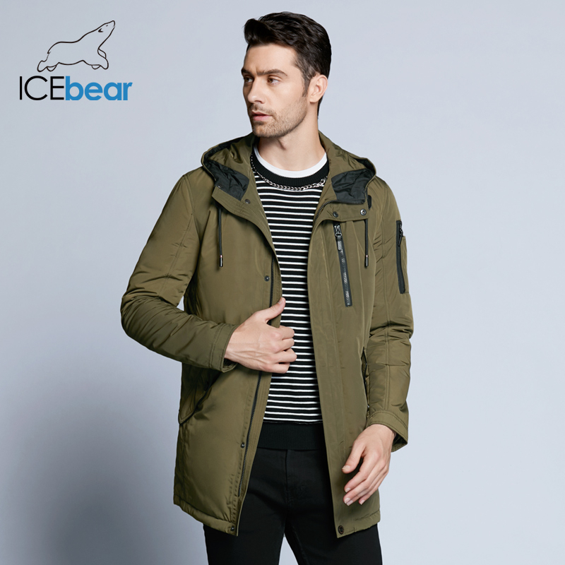 ICEbear 2019 New Autumn Men's Jacket Short Casual Coat Overcoat Hooded Man Jackets High Quality Fabric Men's Cotton MWC18228D