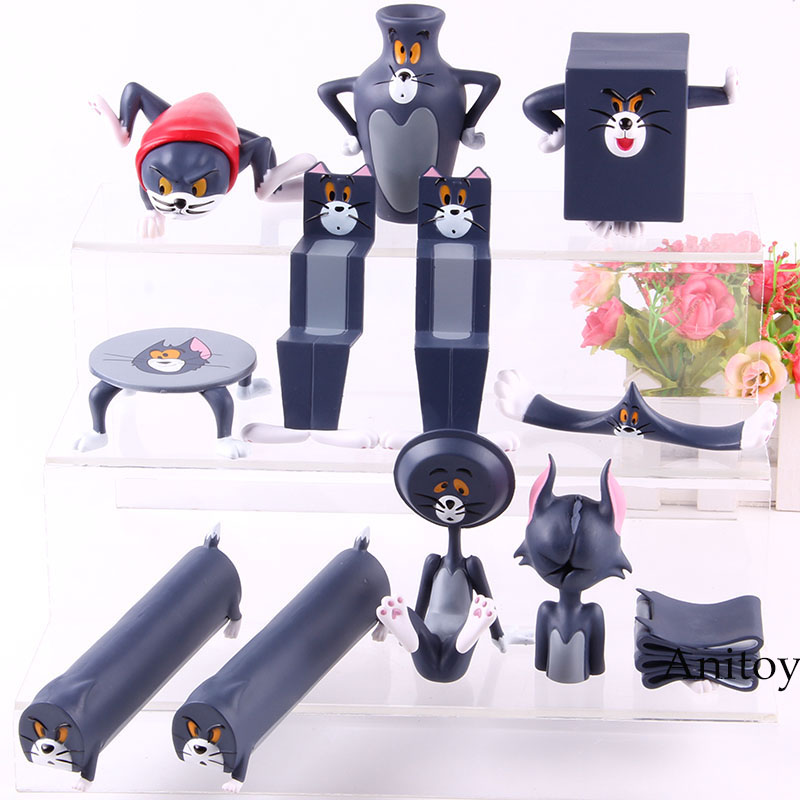 Cartoon Tom & Jerry Cartoon Tom Action Figure Silly Cat Carving Everyday PVC Collectible Toys Decoration Dolls 6pcs/set
