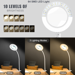 Image 2 - NEWACALOX Flexible 3X/5X USB 3 Colors Lamp Magnifier Clip on Table Top Desk LED Reading Large Lens Illuminated Magnifying Glass