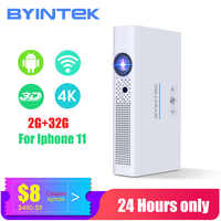 BYINTEK Mini 3D Projector R19 4K ,Smart Wifi Android Beamer,Portable LED DLP lAsEr Proyector for Smartphone 300inch Full HD 1080