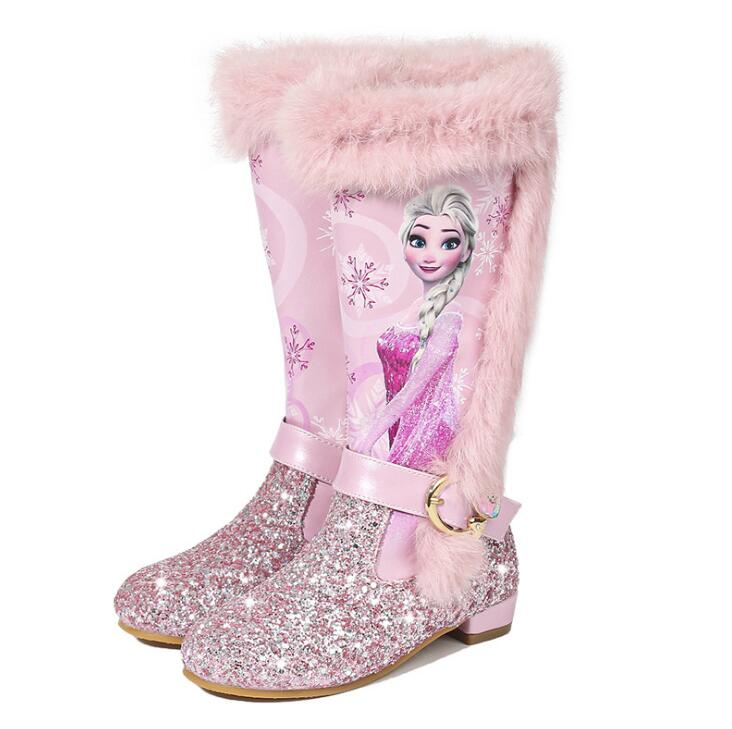 Girls High Boots Winter New Princess Kids Boots For Girls Little Children Shoes Elastic Sequins Brand High-quality Elsa's Shoes
