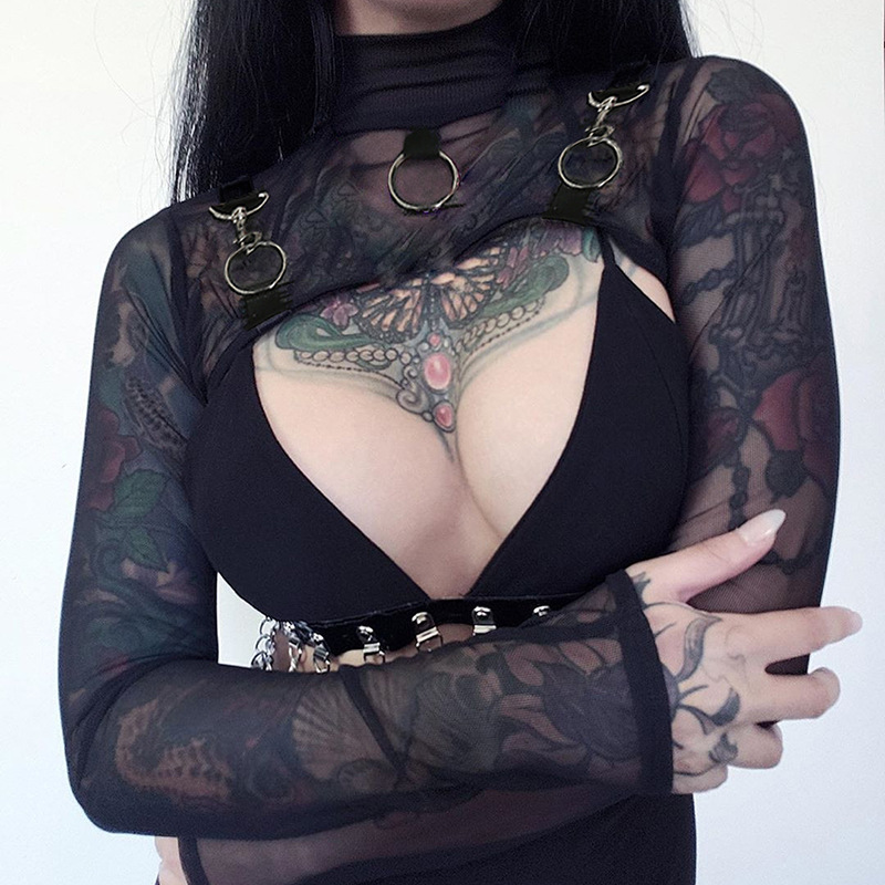 Goth Dark Black Mesh Vintage Gothic T-shirts Women Harajuku Aesthetic Metal Ring Hollow Out Fall 2019 Female Tshirt Transparent
