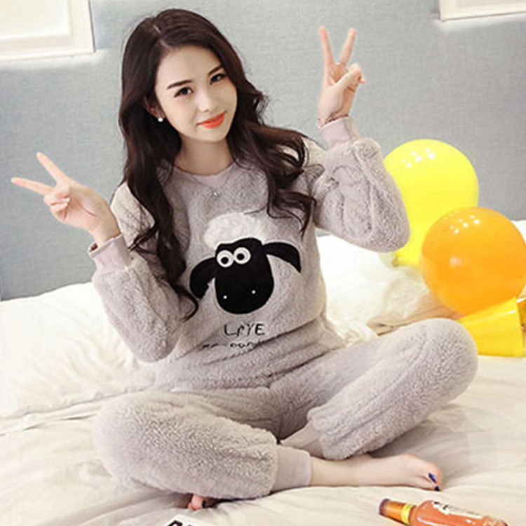 Korean-style Sweet Cute Pajamas Women's Autumn & Winter Gray Shawn Sheep Pink Flannel Set Tracksuit Spring And Autumn Days