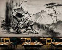 Beibehang papier peint personnalisé mural série samouraï noir et blanc ukiyoe guerrier lahu restaurant outillage bar 3D fond mur