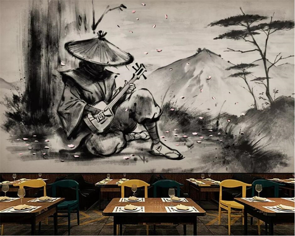Beibehang Custom Wallpaper Mural Samurai Series Black And White Ukiyoe Warrior Lahu Restaurant Tooling Bar 3D Background Wall